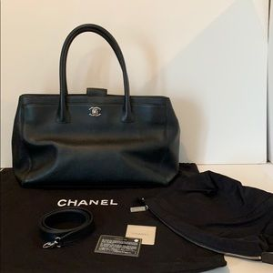 Authentic CHANEL black leather tote